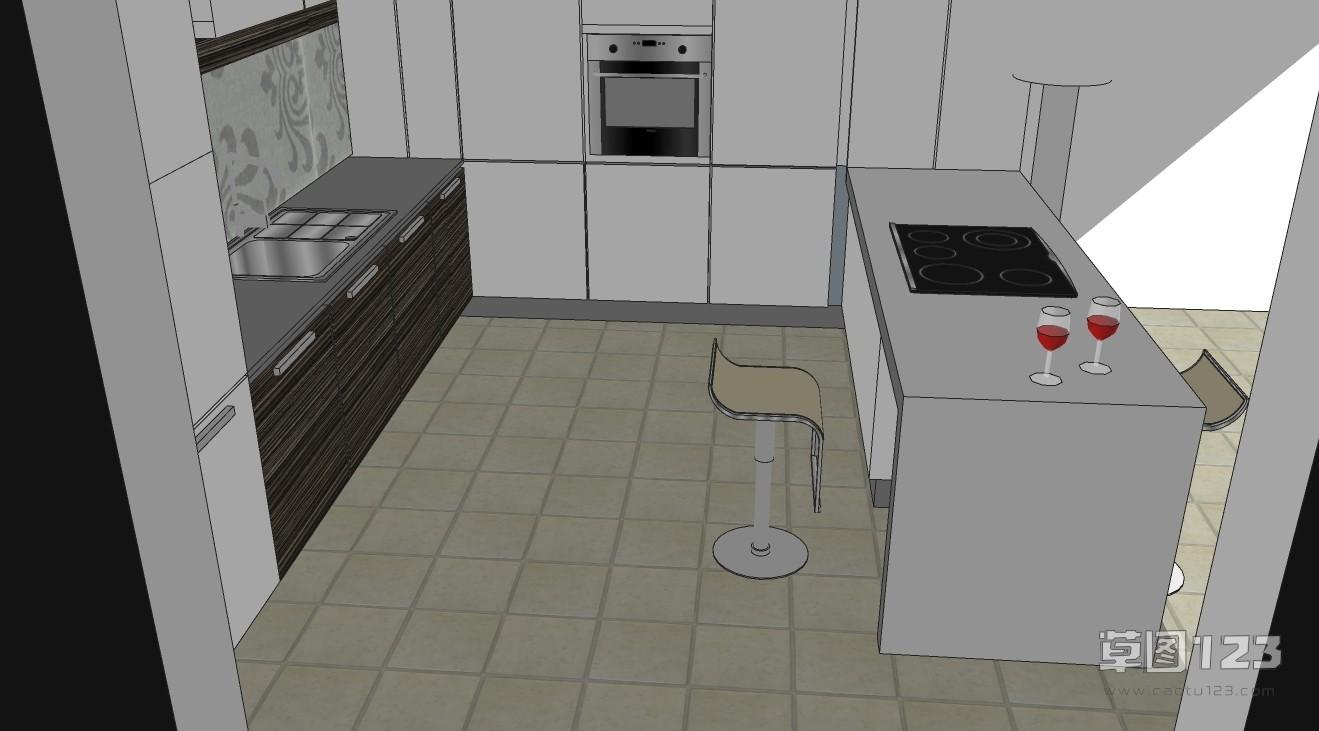 紧凑型半开放式厨房su模型3.jpg(2)