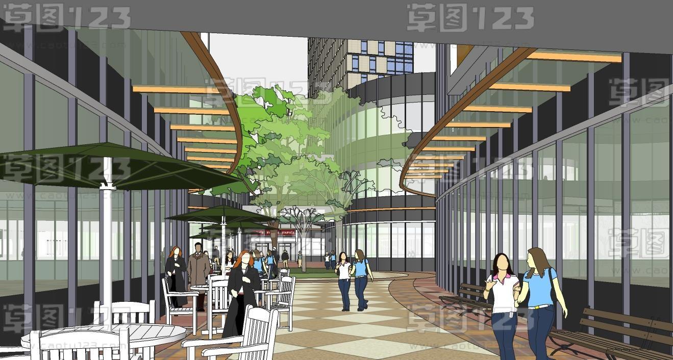 商业街道整体规划su模型综合体3-2 (2).jpg(3)